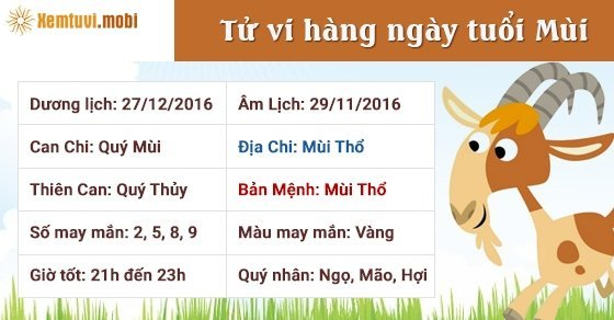 Tử vi ngày mới 12 con giáp thứ 3 ngày 27/12/2016