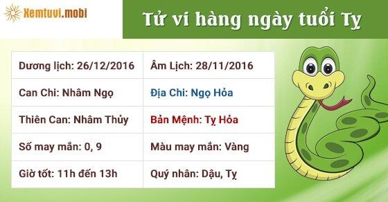 Tử vi hàng ngày tuổi Tỵ thứ 2 ngày 26/12/2016