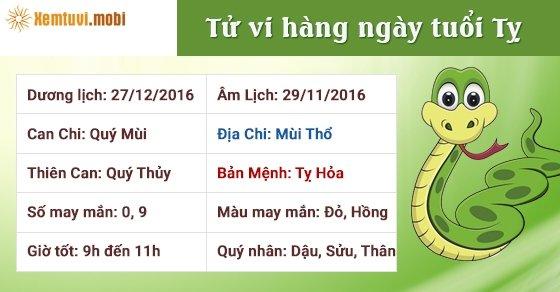 Tử vi hàng ngày tuổi Tỵ thứ 3 ngày 27/12/2016