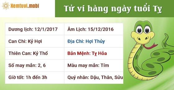 Tử vi hàng ngày tuổi Tỵ thứ 5 ngày 12/1/2017