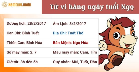Tử vi hàng ngày tuổi Ngọ thứ 3 ngày 28/2/2017