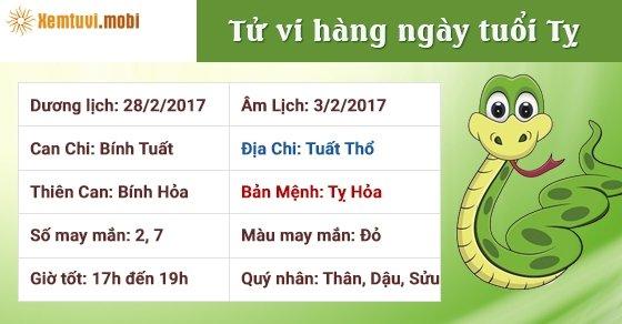 Tử vi hàng ngày tuổi Tỵ thứ 3 ngày 28/2/2017