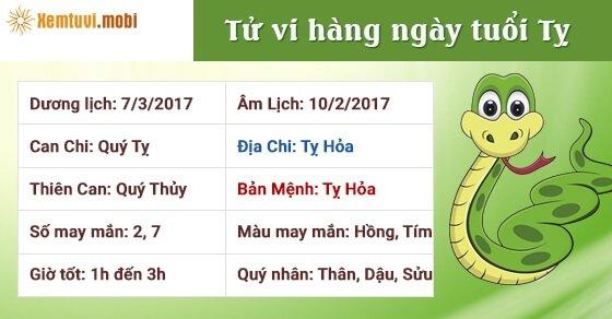 Tử vi hàng ngày tuổi Tỵ thứ 3 ngày 7/3/2017