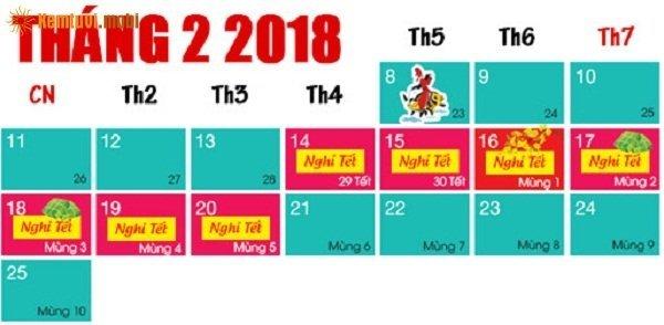 Lịch nghỉ tết Nguyên Đán2018